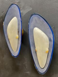 Max Ingrand for Fontana Arte Exceptional Pair of Blue Glass Sconces Italy 1960 - 1410659