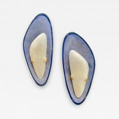 Max Ingrand for Fontana Arte Exceptional Pair of Blue Glass Sconces Italy 1960 - 1411610