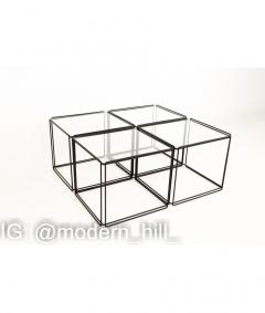 Max Sauze Max Sauze Isoceles Iron and Glass Stacking Side End Tables Set of 5 - 1810331