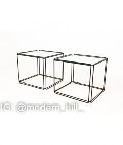 Max Sauze Max Sauze Isoceles Iron and Glass Stacking Side End Tables Set of 5 - 1810332