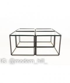 Max Sauze Max Sauze Isoceles Iron and Glass Stacking Side End Tables Set of 5 - 1810334