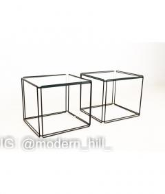 Max Sauze Max Sauze Isoceles Iron and Glass Stacking Side End Tables Set of 5 - 1810346