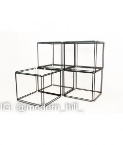 Max Sauze Max Sauze Isoceles Iron and Glass Stacking Side End Tables Set of 5 - 1810377