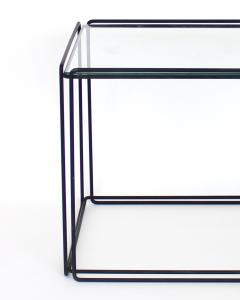 Max Sauze Pair of Max Sauze Isoceles Black Metal and Glass Side Tables or Coffee Tables - 2100711