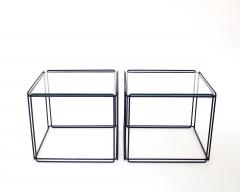 Max Sauze Pair of Max Sauze Isoceles Black Metal and Glass Side Tables or Coffee Tables - 2100714