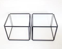 Max Sauze Pair of Max Sauze Isoceles Black Metal and Glass Side Tables or Coffee Tables - 2100717