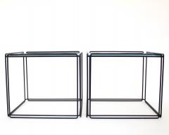 Max Sauze Pair of Max Sauze Isoceles Black Metal and Glass Side Tables or Coffee Tables - 2100718