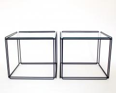 Max Sauze Pair of Max Sauze Isoceles Black Metal and Glass Side Tables or Coffee Tables - 2100719