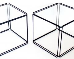 Max Sauze Pair of Max Sauze Isoceles Black Metal and Glass Side Tables or Coffee Tables - 2100720