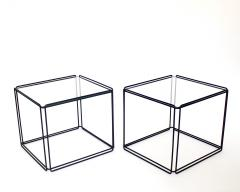 Max Sauze Pair of Max Sauze Isoceles Black Metal and Glass Side Tables or Coffee Tables - 2100722