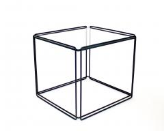 Max Sauze Pair of Max Sauze Isoceles Black Metal and Glass Side Tables or Coffee Tables - 2100724