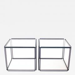 Max Sauze Pair of Max Sauze Isoceles Black Metal and Glass Side Tables or Coffee Tables - 2106176