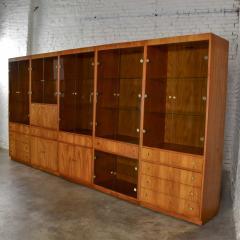 Mcm hooker 5 section oak veneer display cabinet wall unit - 1900282