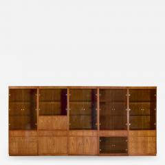 Mcm hooker 5 section oak veneer display cabinet wall unit - 1902136