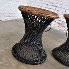 Mcm rattan and cane cinched waist side accent end tables or low stools a pair - 1843797