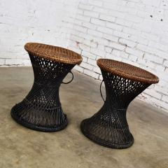 Mcm rattan and cane cinched waist side accent end tables or low stools a pair - 1843798