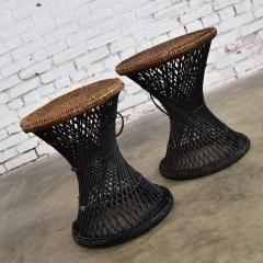 Mcm rattan and cane cinched waist side accent end tables or low stools a pair - 1843802