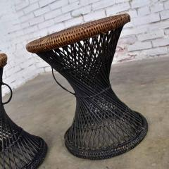 Mcm rattan and cane cinched waist side accent end tables or low stools a pair - 1843805