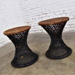 Mcm rattan and cane cinched waist side accent end tables or low stools a pair - 1843820