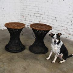 Mcm rattan and cane cinched waist side accent end tables or low stools a pair - 1843824
