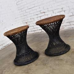 Mcm rattan and cane cinched waist side accent end tables or low stools a pair - 1843826