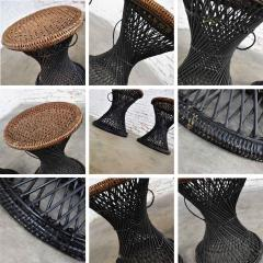Mcm rattan and cane cinched waist side accent end tables or low stools a pair - 1843832