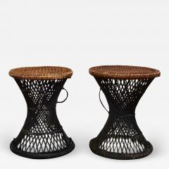 Mcm rattan and cane cinched waist side accent end tables or low stools a pair - 1845856