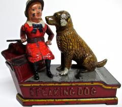 Mechanical Bank Speaking Dog ca 1885 with Original Wooden Box - 86716