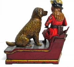 Mechanical Bank Speaking Dog ca 1885 with Original Wooden Box - 86717