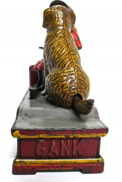 Mechanical Bank Speaking Dog ca 1885 with Original Wooden Box - 86718