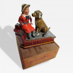 Mechanical Bank Speaking Dog ca 1885 with Original Wooden Box - 87114