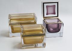 Medium Murano Blown 24K Gold Box Contemporary - 1192058