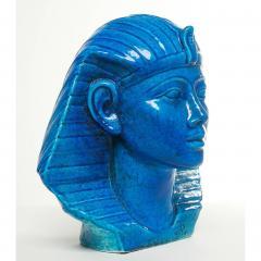 Medium Persian Blue Glaze King Tutankhamun Ceramic Bust by Ugo Zaccagnini - 774573