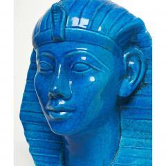 Medium Persian Blue Glaze King Tutankhamun Ceramic Bust by Ugo Zaccagnini - 774575