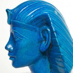 Medium Persian Blue Glaze King Tutankhamun Ceramic Bust by Ugo Zaccagnini - 774576
