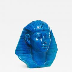 Medium Persian Blue Glaze King Tutankhamun Ceramic Bust by Ugo Zaccagnini - 777246