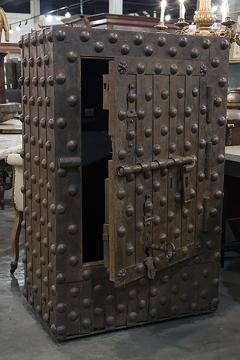Medium Size Steel Hobnail Safe With Heavy Riveting from Northern Italy - 417452