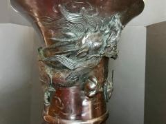 Meiji Japanese Large Bronze Floor Vase Intricate Elaborate Decorations - 756544