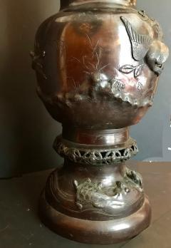 Meiji Japanese Large Bronze Floor Vase Intricate Elaborate Decorations - 756552