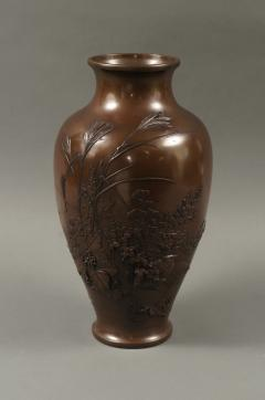 Meiji Period Japanese Bronze Vase with Grasses and Quail Design - 1662931