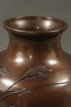 Meiji Period Japanese Bronze Vase with Grasses and Quail Design - 1662934