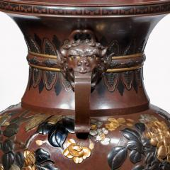 Meiji period rotating bronze and mixed metal vases - 800922