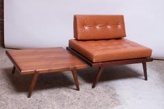 Mel Smilow Midcentury Walnut and Leather Lounge Chair and Ottoman by Mel Smilow - 1173389