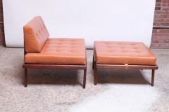 Mel Smilow Midcentury Walnut and Leather Lounge Chair and Ottoman by Mel Smilow - 1173390