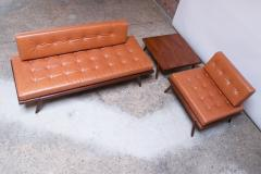 Mel Smilow Midcentury Walnut and Leather Lounge Chair and Ottoman by Mel Smilow - 1173391