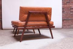 Mel Smilow Midcentury Walnut and Leather Lounge Chair and Ottoman by Mel Smilow - 1173395
