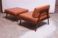 Mel Smilow Midcentury Walnut and Leather Lounge Chair and Ottoman by Mel Smilow - 1173396