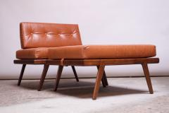 Mel Smilow Midcentury Walnut and Leather Lounge Chair and Ottoman by Mel Smilow - 1173397