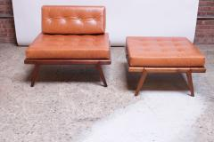 Mel Smilow Midcentury Walnut and Leather Lounge Chair and Ottoman by Mel Smilow - 1173399