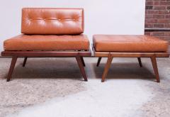 Mel Smilow Midcentury Walnut and Leather Lounge Chair and Ottoman by Mel Smilow - 1173400